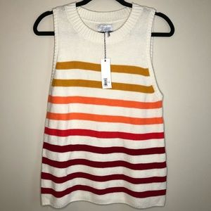 Lucky Brand Sleeveless Stripped Sweater Size M